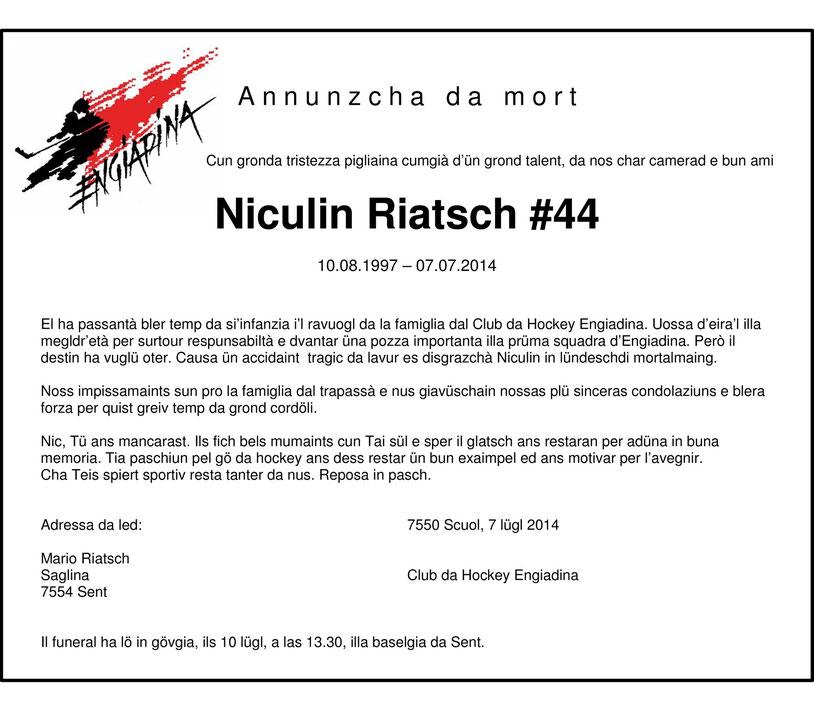 Todesanzeige Niculin Riatsch